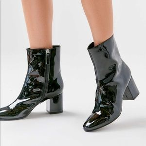 Urban Outfitters Patent Leather Boots, Chunky Heel